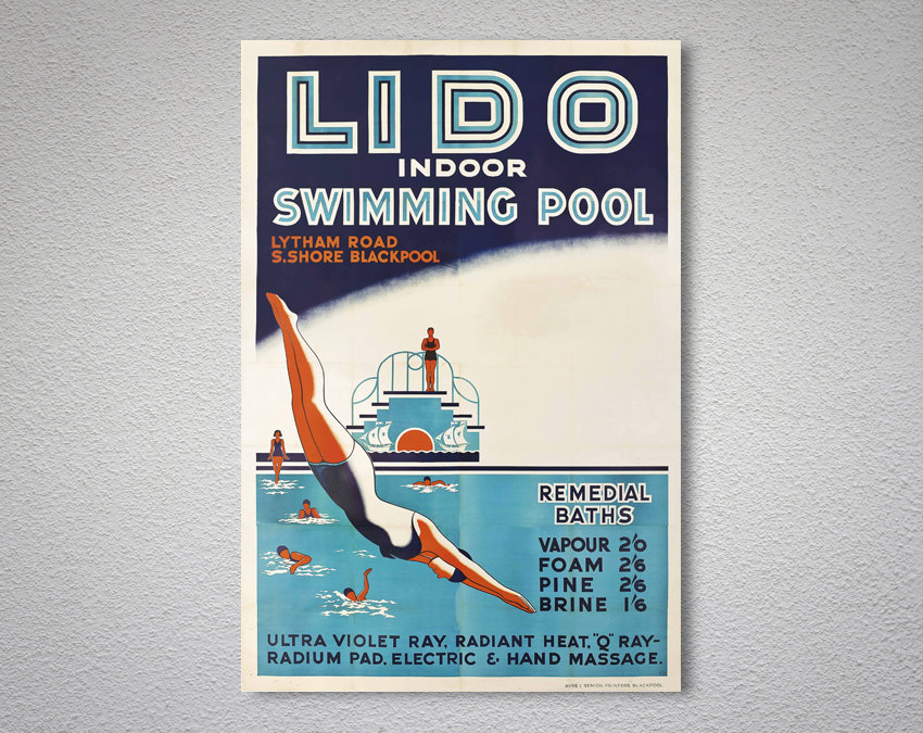 Lido Indoor Swimming Pool Vintage Travel Poster