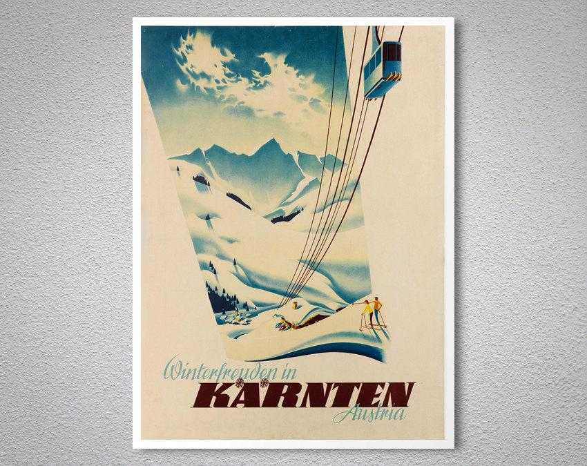 Cortina Ampezzo vintage italian ski resort travel poster repro 12x18