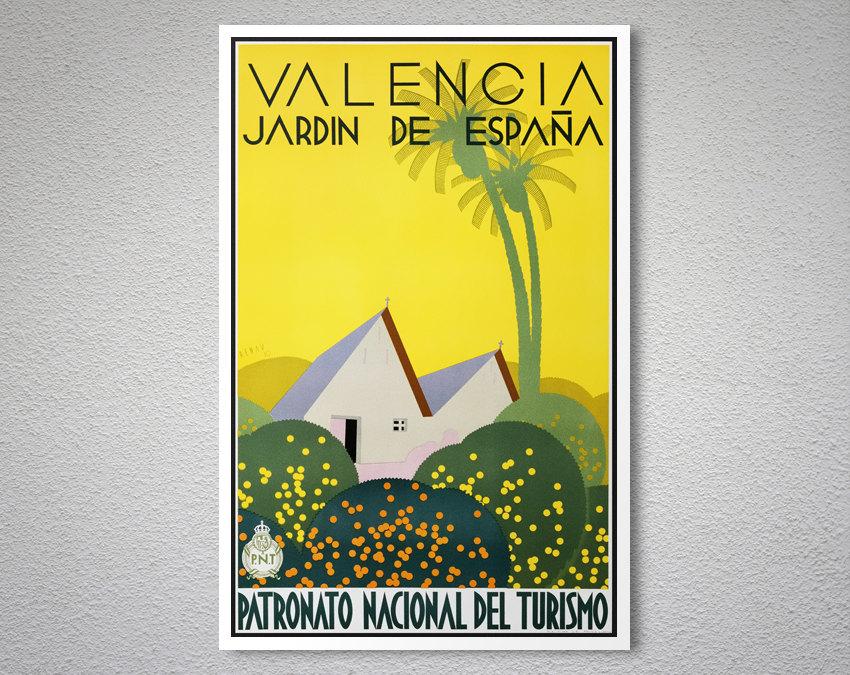 Valencia jardin de espana vintage travel poster arty posters - Vintage valencia ...