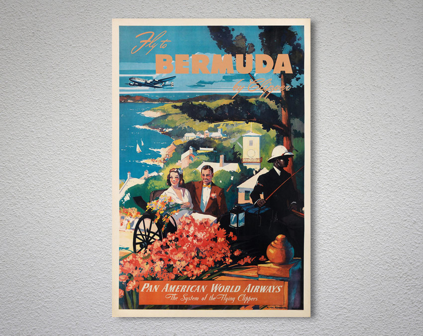 Bermuda by Clipper vintage Pan Am air travel poster repro 16x24