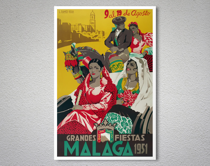 Vintage Old Transport Poster Grandes Fiesta Malaga Print Art A4 A3 A2 A1