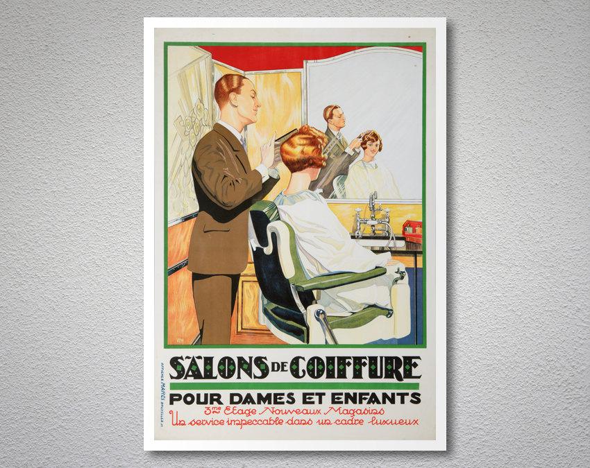 Salons de coiffure pour dames et enfants vintage poster - Prix salon de coiffure ...