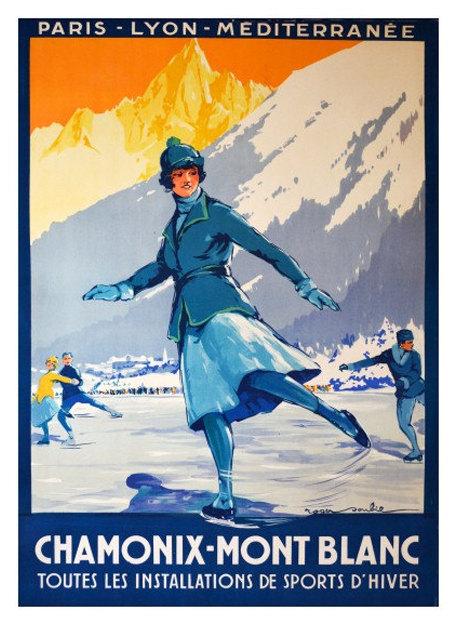 Chamonix vintage winter sports ski poster repro 12x18