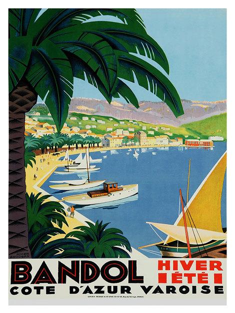 LA COTE D/'AZUR Vintage French Travel Poster Giclee Canvas Print 20X30