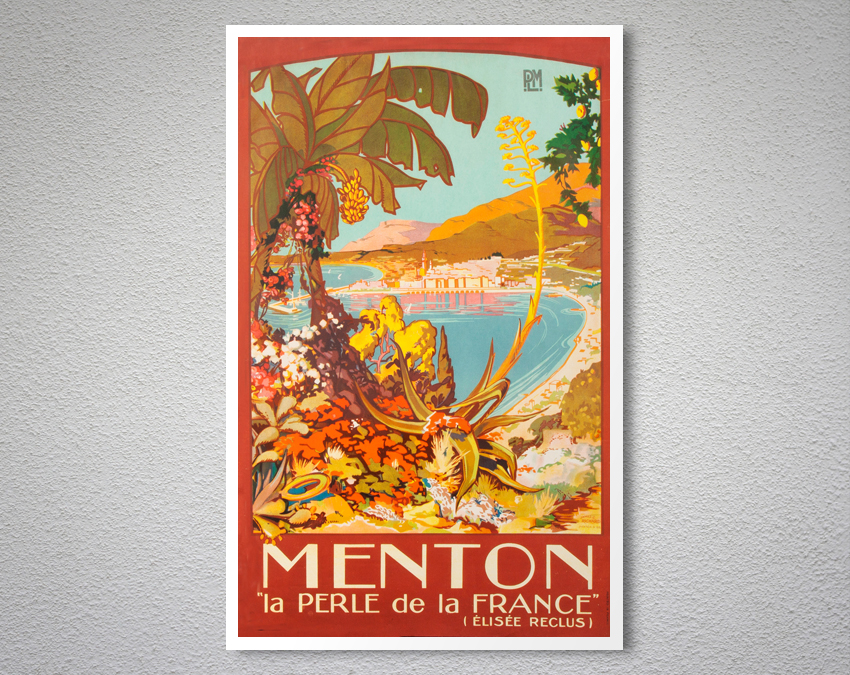 Menton La Perle de la France Vintage Travel Poster | Arty Posters