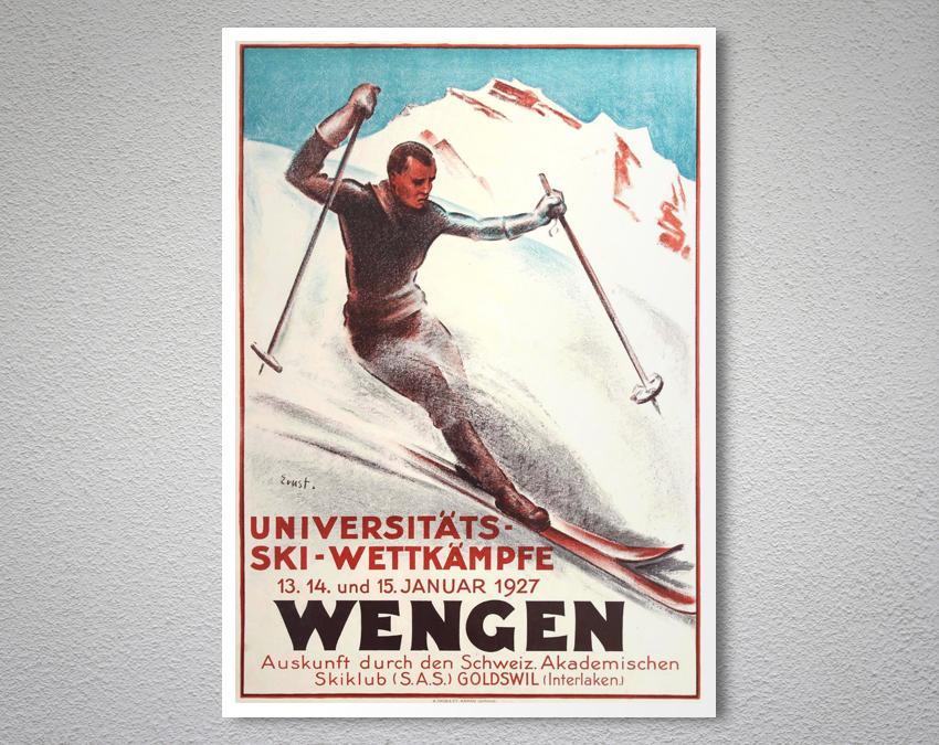 Wengen Vintage Travel Ski Poster